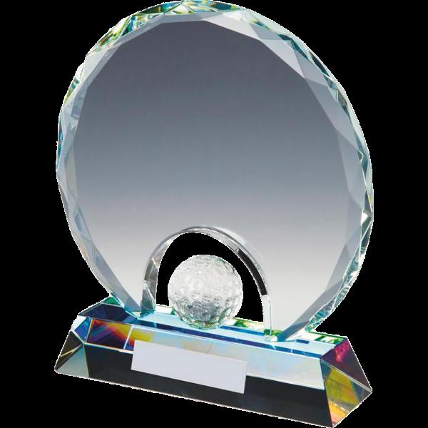 Plakett i krystall med golfball