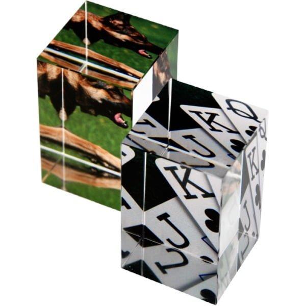 Glassblokk med print